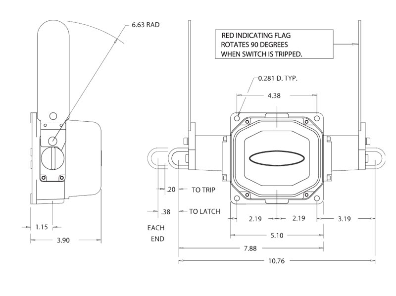Item # 04954-414, Cable Operated Switches with Double Flag