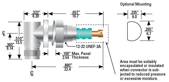 Part Number 167-9220, 600 Series Receptacle, Right Angle