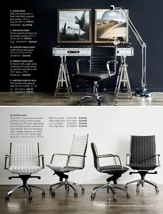 z gallerie office chair posturepedic the high ground malcolm grey finished k flight desk slick steel construction is fitted with black tempered glass surfaces 55