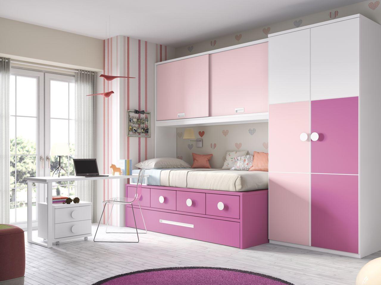 habitacin juvenil blanco fucsia y rosa con tirador