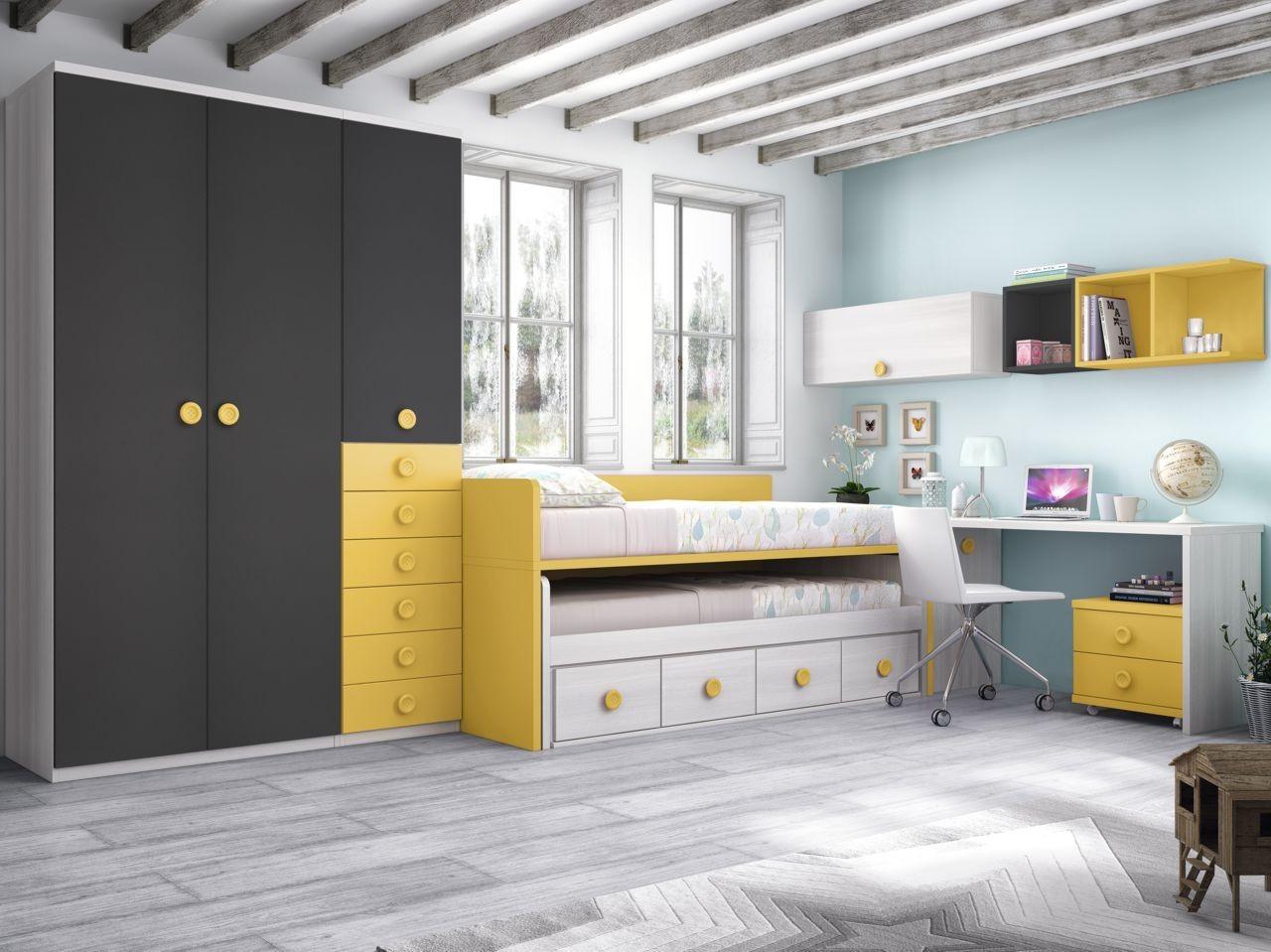 habitacin juvenil fresno pizarra y amarillo con tirador botn del modelo Formas F073 de Glicerio Chaves  Zaragoza