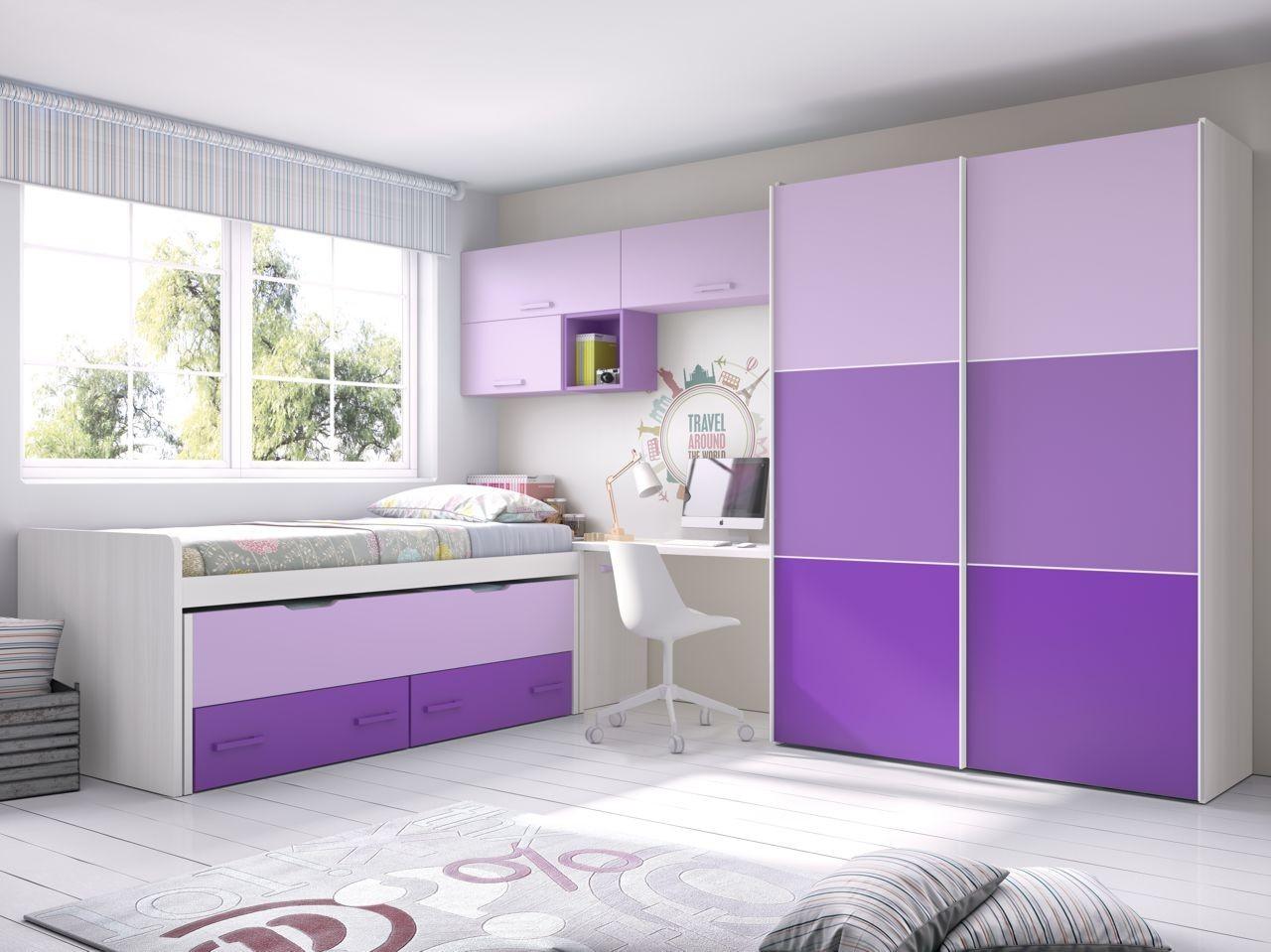habitacin juvenil fresno  malva  mora y violeta con
