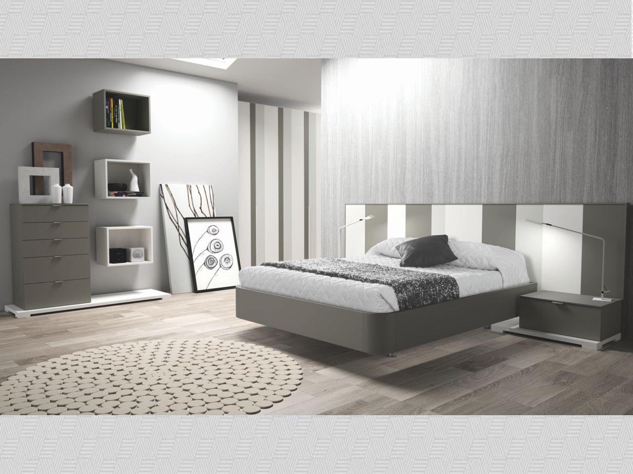 Dormitorio matrimonio antracita perla y blanco mate N08