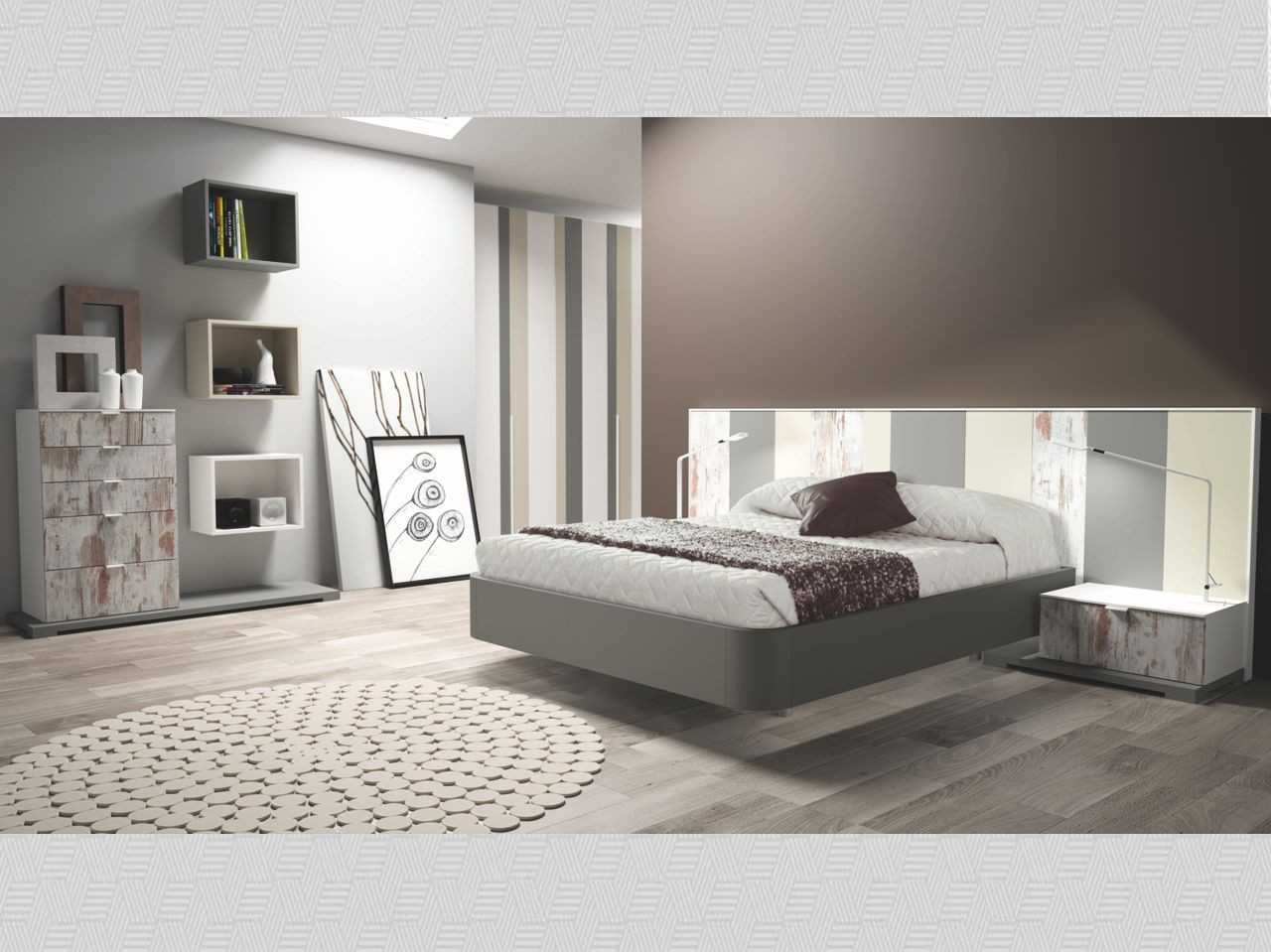 Dormitorio matrimonio antik antracita arena y blanco