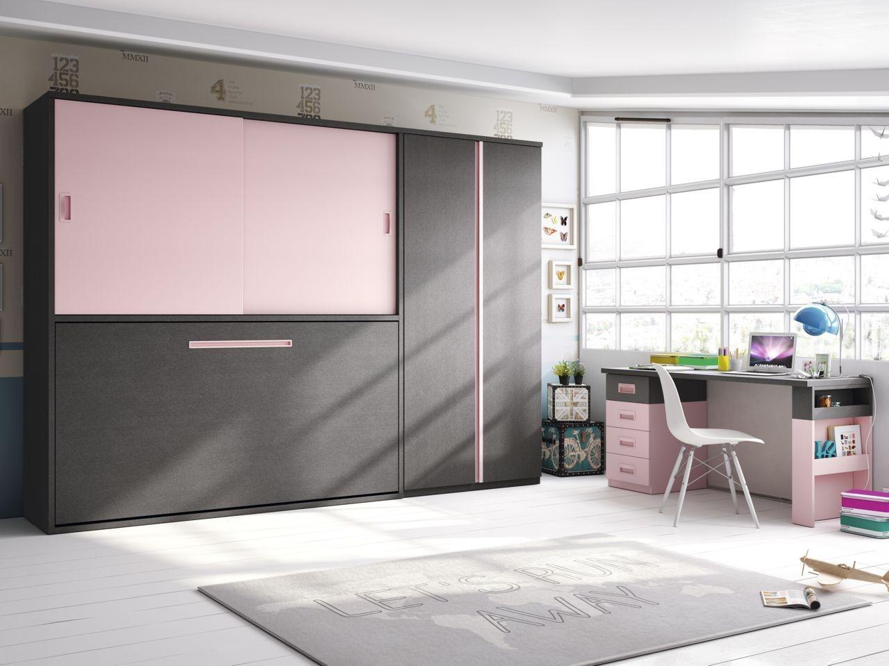 habitacin juvenil cama abatible novotex aluminio y rosa