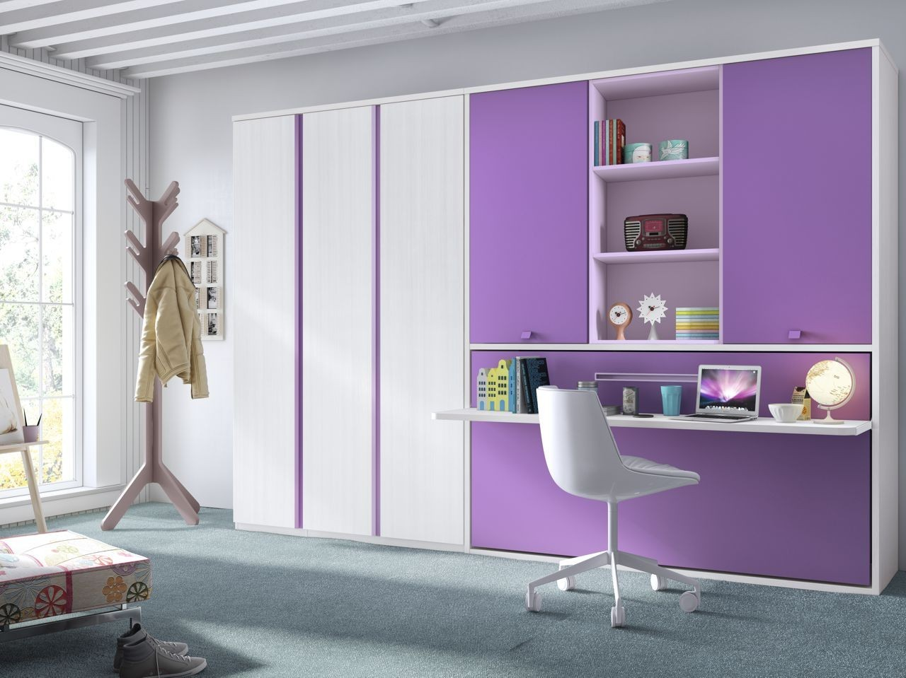 habitacin juvenil cama abatible fresno  mora y violeta