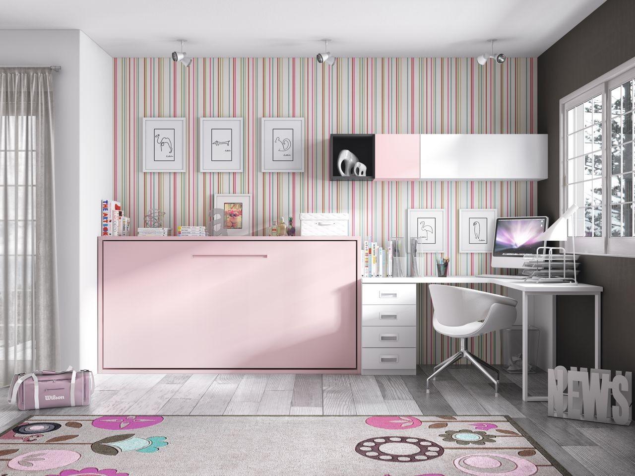 habitacin juvenil cama abatible blanco y rosa con tirador