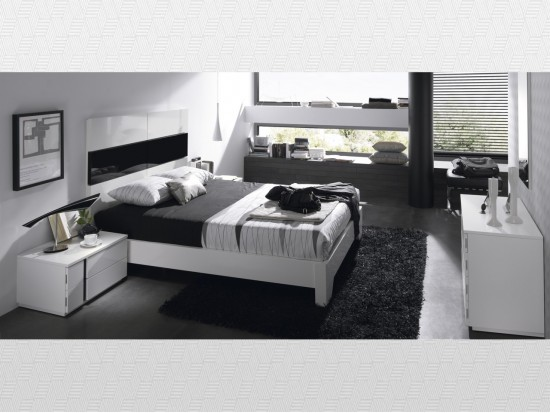 Dormitorio matrimonio Blanco  blanco lacado  negro