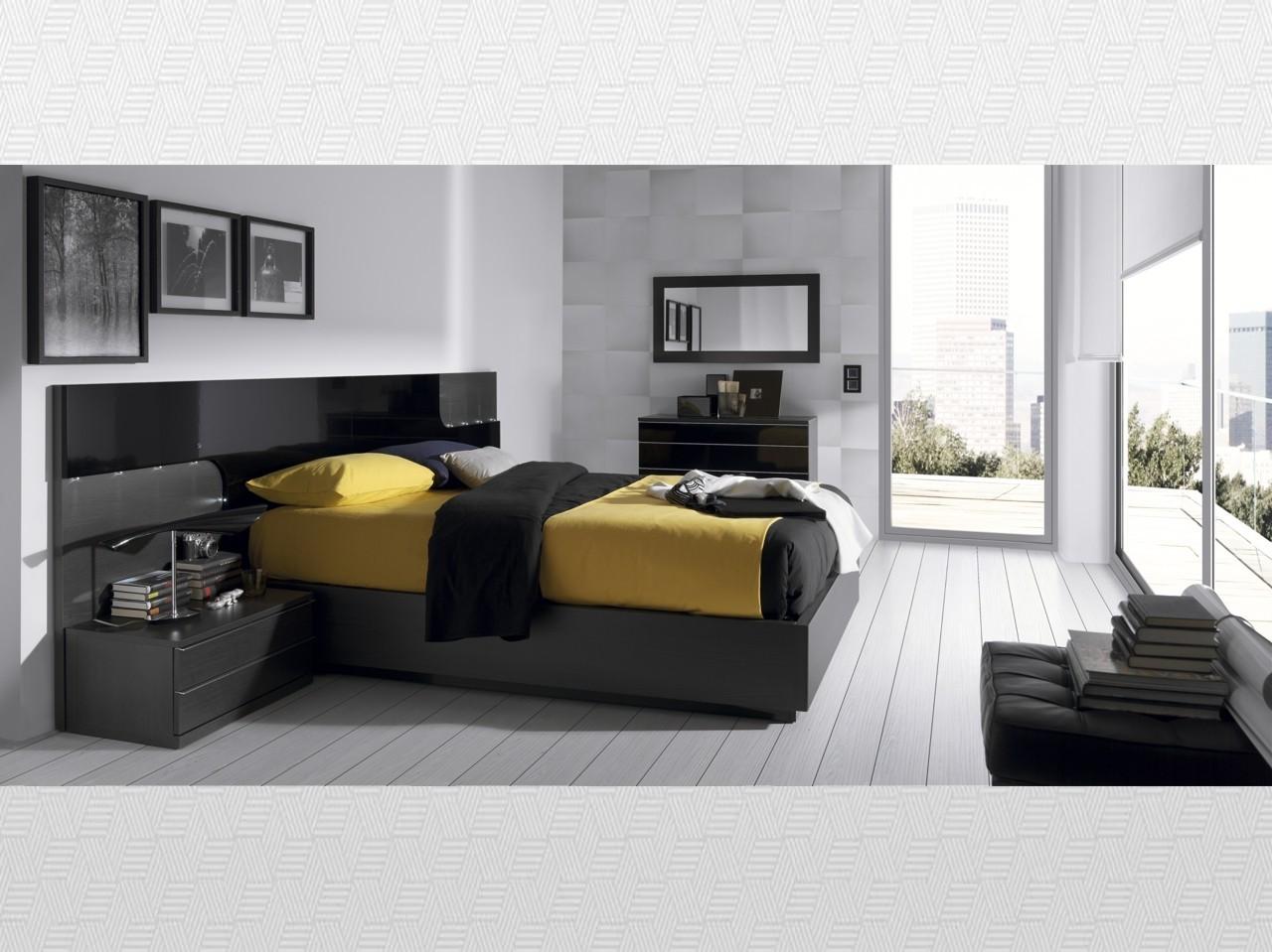 Dormitorio matrimonio ceniza  lacado negro del modelo