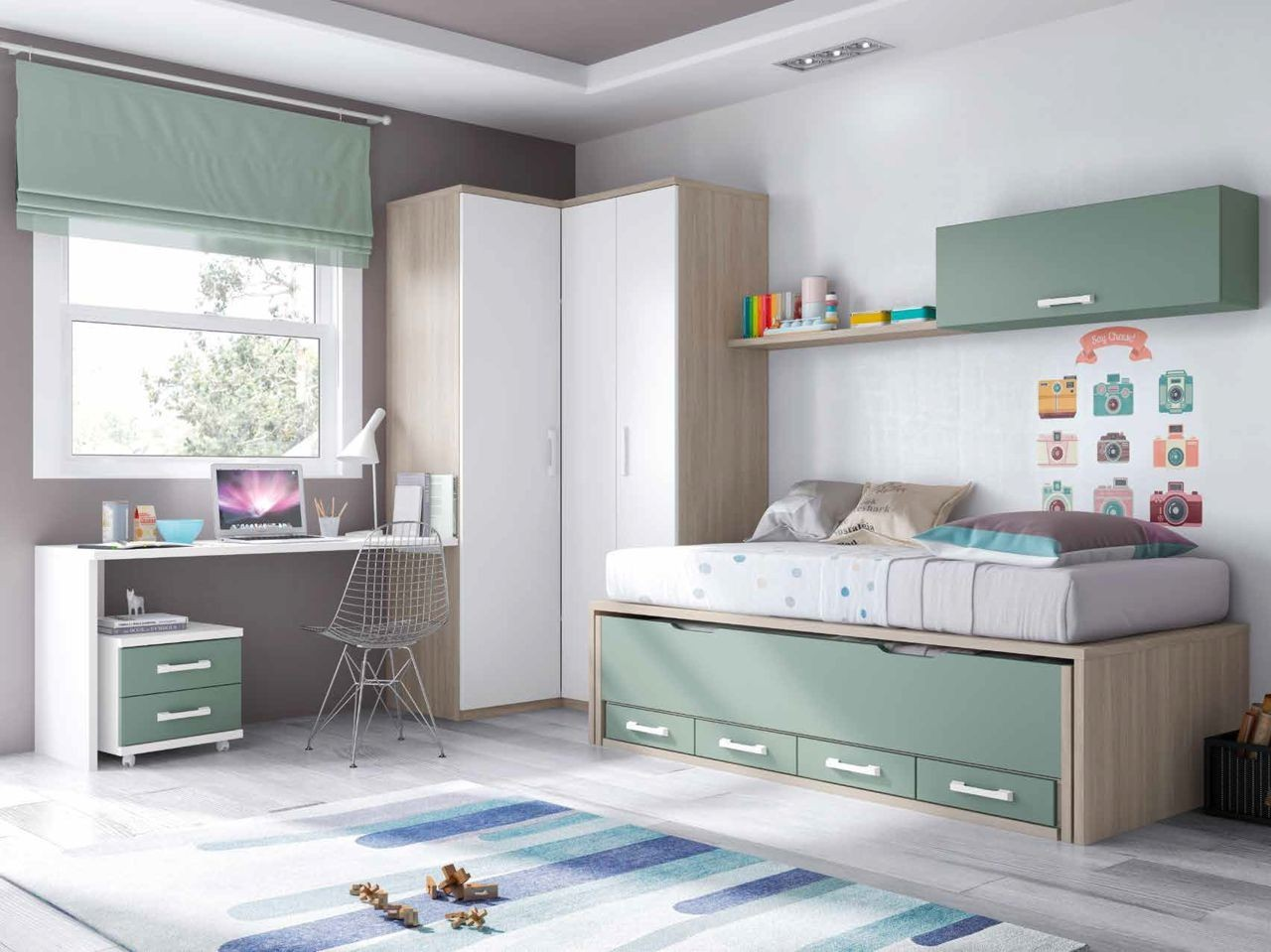 Dormitorio juvenil en color roble nrdico kaki y blanco