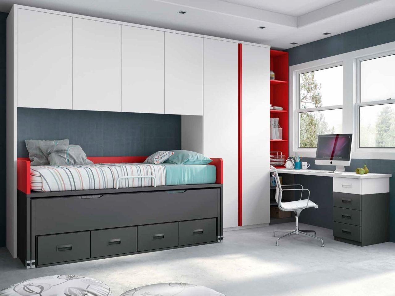 Dormitorio juvenil en color blanco pizarra y rojo con