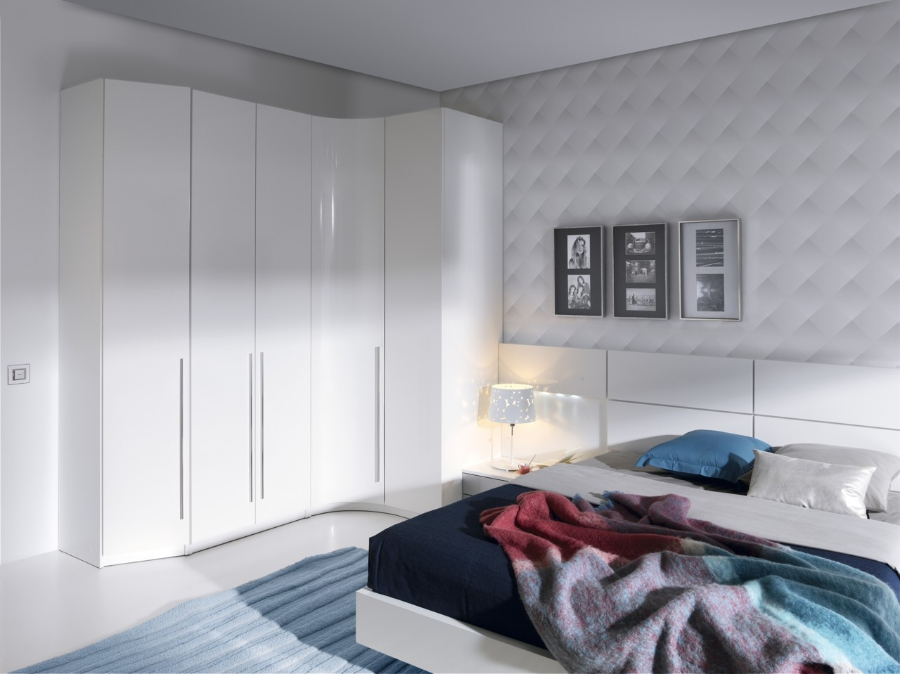 Dormitorio matrimonio Blanco  lacado blanco  aluminio