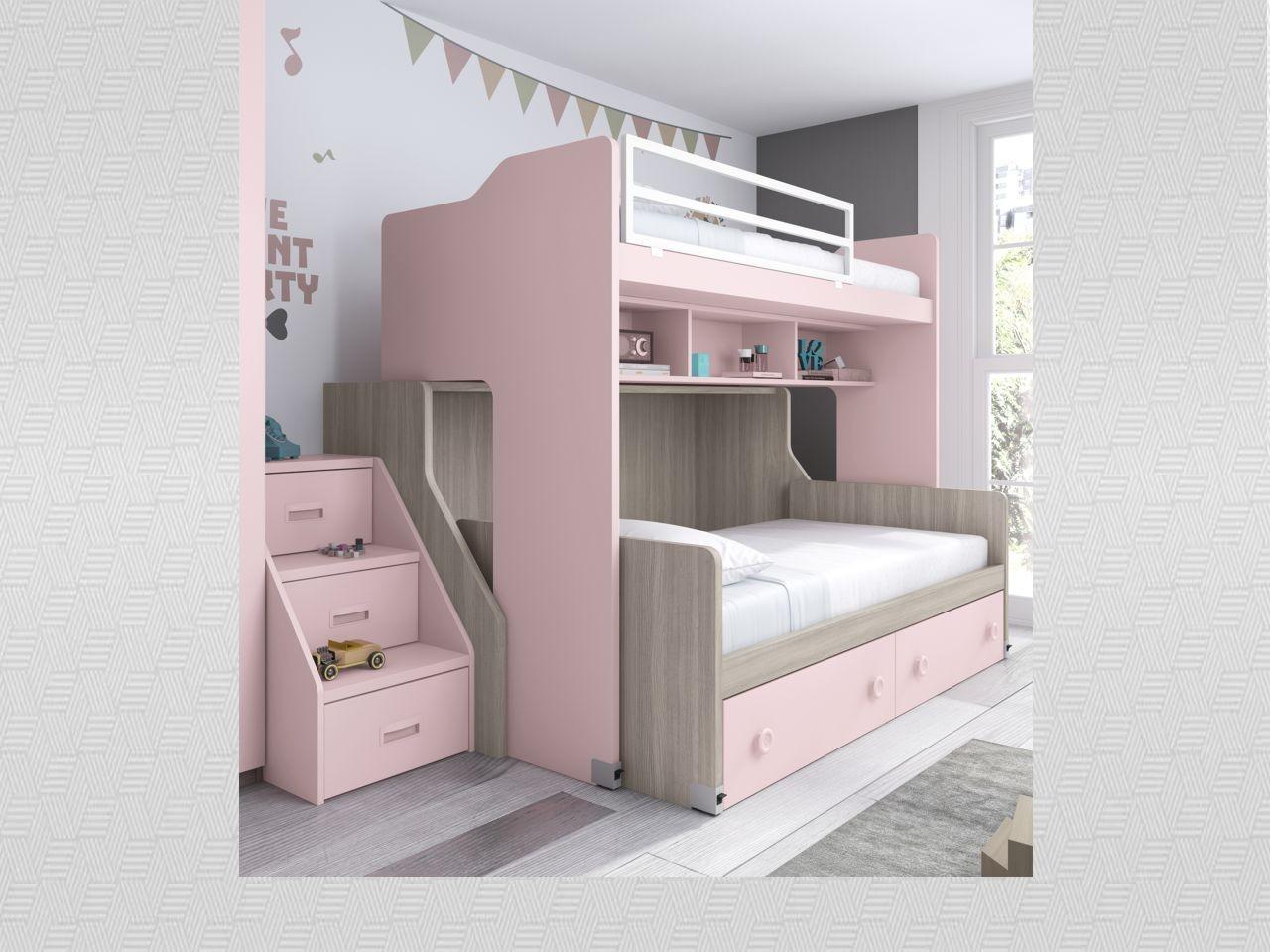 habitacin juvenil con litera roble nrdico y rosa con