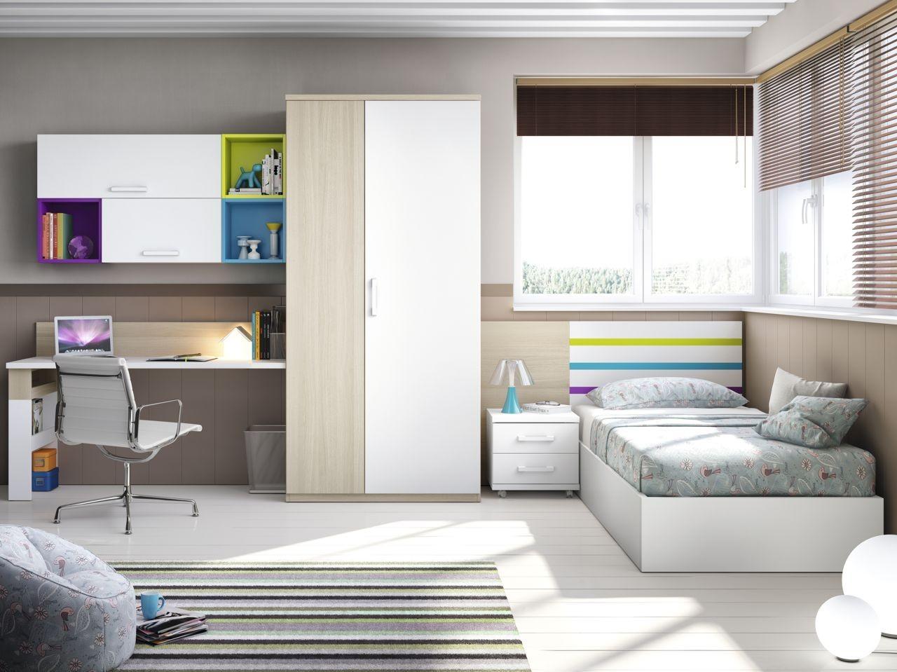 Dormitorio juvenil Roble aqua verde malva y blanco con