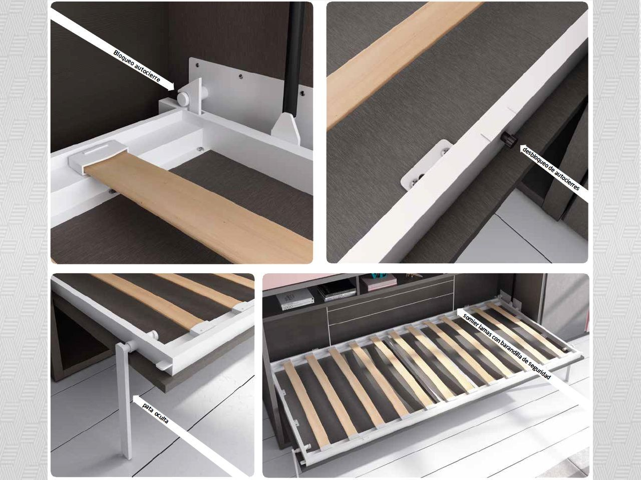habitacin juvenil cama abatible novotex aluminio y aqua