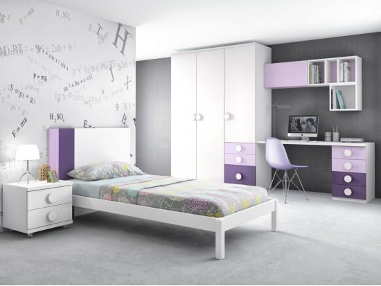 Habitacin juvenil blanco violeta y novotex lila con