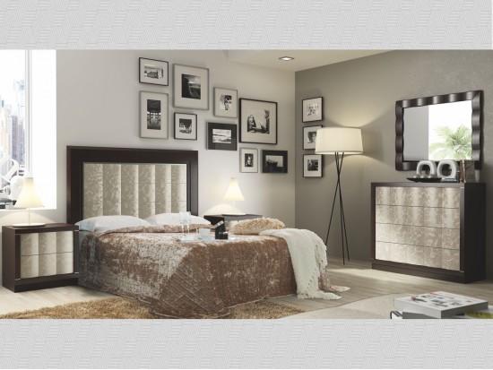 Dormitorio matrimonio Roble Wengu y Lacado Champagne 3D