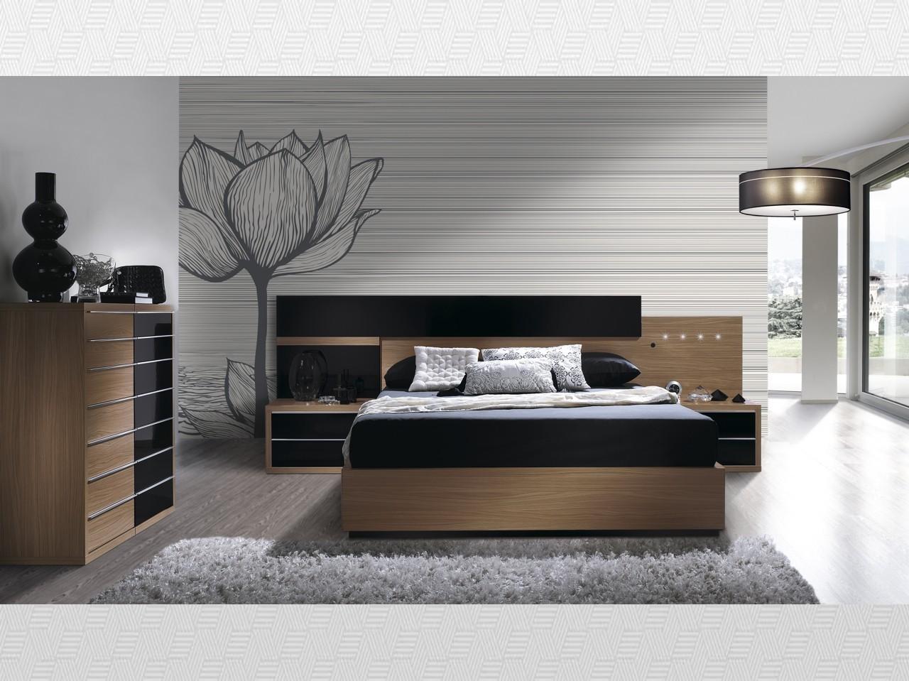 Dormitorio matrimonio Noce  negro lacado del modelo Eos