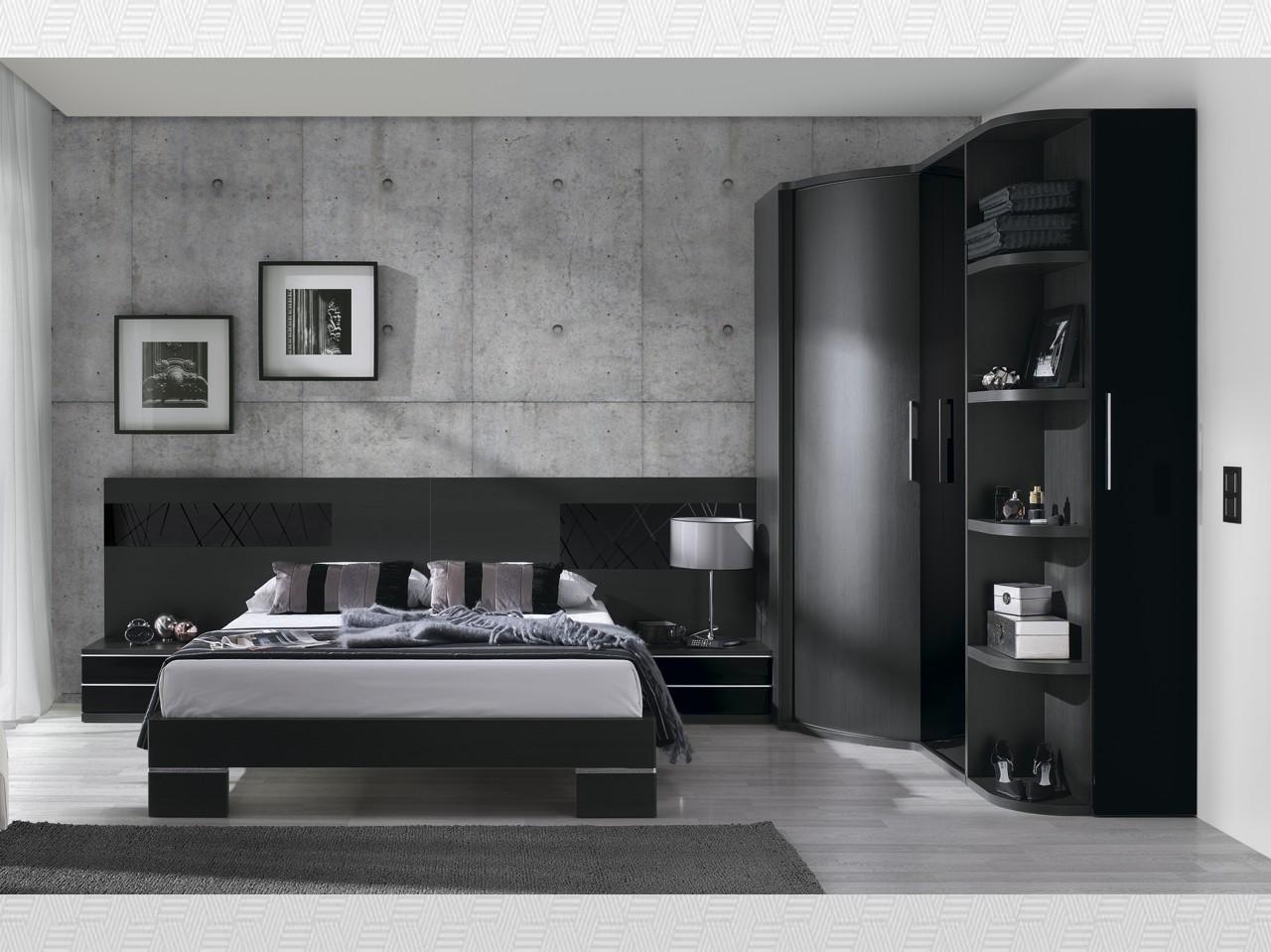 Dormitorio matrimonio Ceniza  negro lacado del modelo Eos