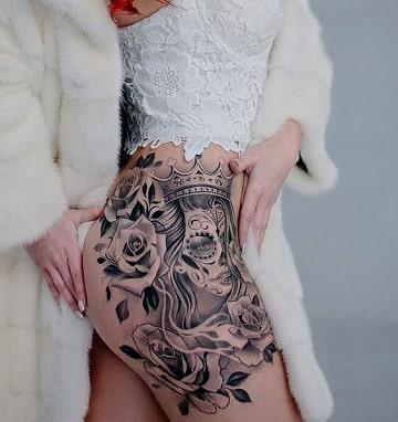 Detalles Y Realismo En Tatuajes De Catrinas Con Rosas
