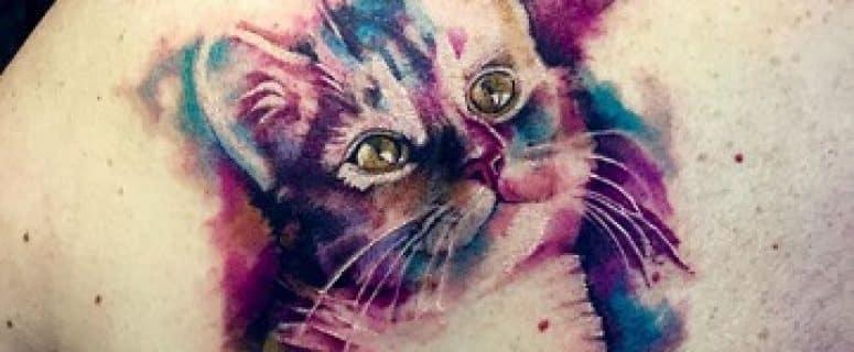 Algunos Originales Diseños De Tatuajes De Gatos En Acuarela