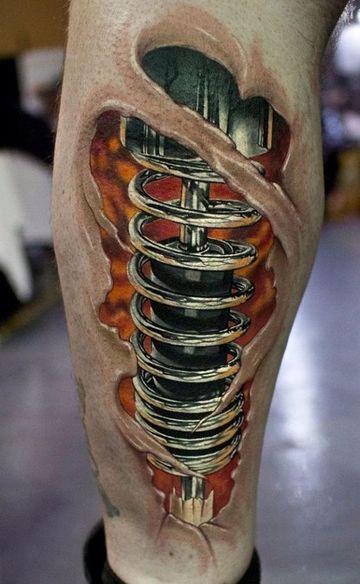 Detallistas Y Originales Tatuajes Biomecanicos Pierna