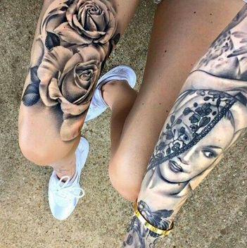 Tradicionales Tatuajes De Rosas Blanco Y Negro