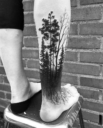 Sombrios Y Geniales Tatuajes De Bosques Para Hombres