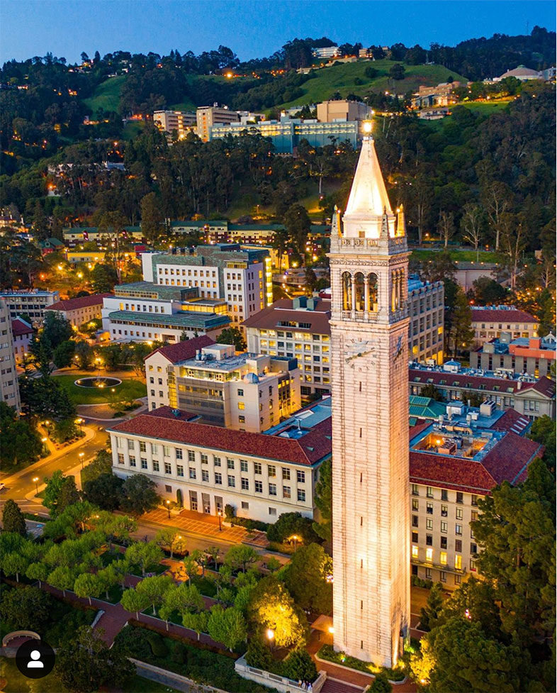 View of Berkeley campus showing campanile and College of Chemistry buildings.