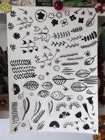 Black ink floral motifs