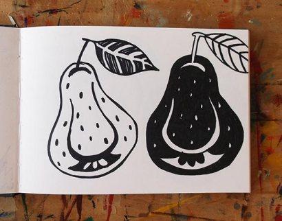 Pears, linocut design in pen © Catherine Cronin