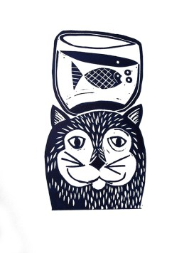 Cat & Fish Linocut print © Catherine Cronin