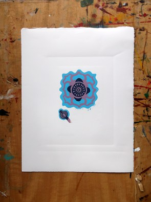 Anenome linocut in progress © Catherine Cronin