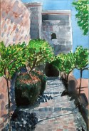 Malaga Fort view, watercolour © Catherine Cronin