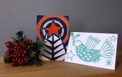 Christmas linocut cards © Catherine Cronin