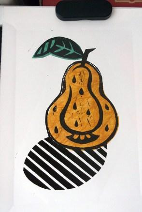 Pear Pop linocuts in progress © Catherine Cronin