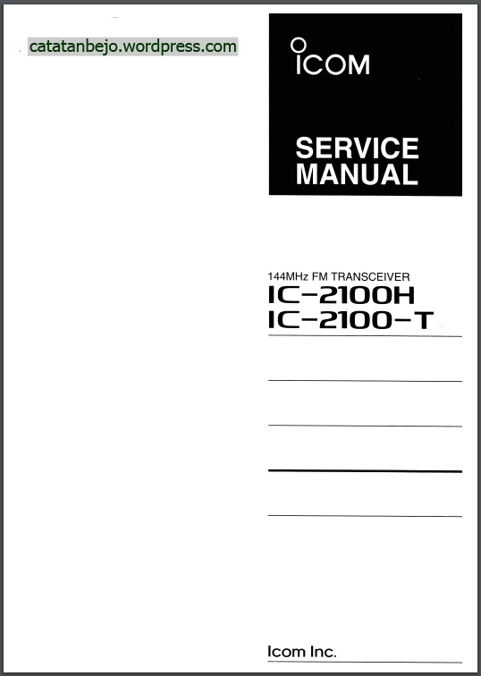 Service Manual Icom IC-2100H
