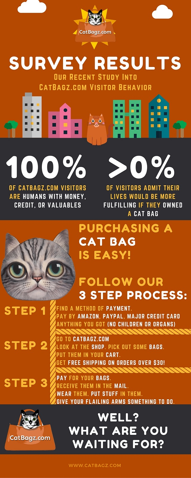 The CatBagz.com Scientific Survey Says You Need to Buy Some Cat Faced Bags in Short Order.