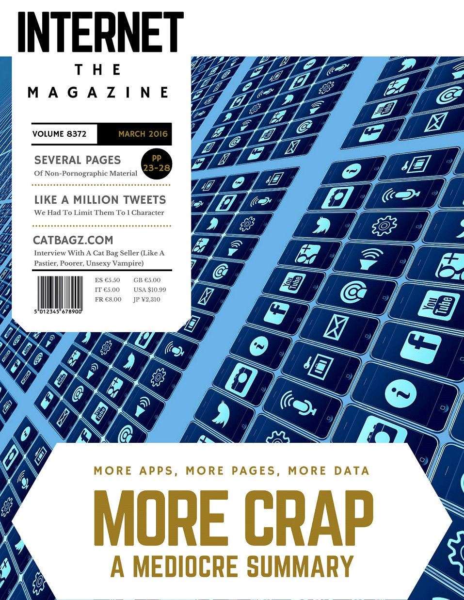 Front Page of Internet - The Magazine where CatBagz.com is Featured.