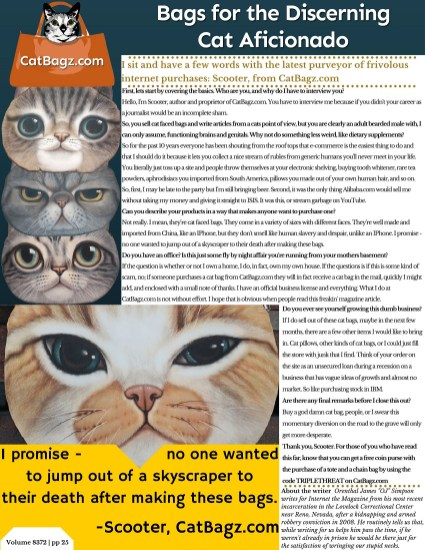 Inner Page of Internet - The Magazine with the actual text of the CatBagz.com interview with Scooter.