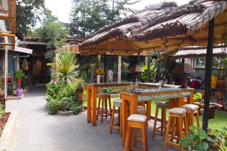 the patio garden of the Lucy Gazebo Restaurant