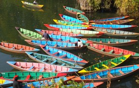 boats on Phewa Tal in Pokhara