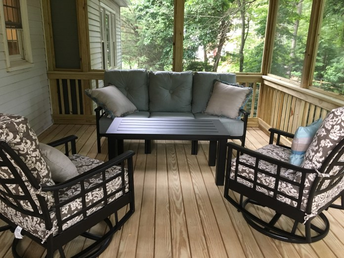our screened-in porch furniture