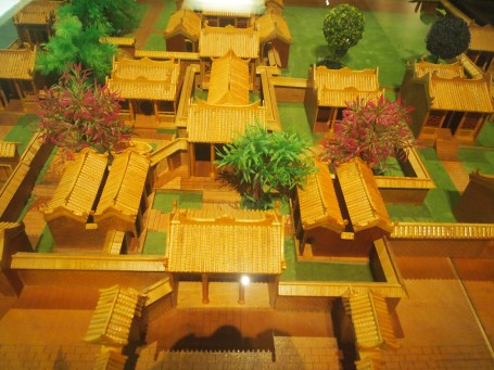 Model of Zhuang village with wooden houses