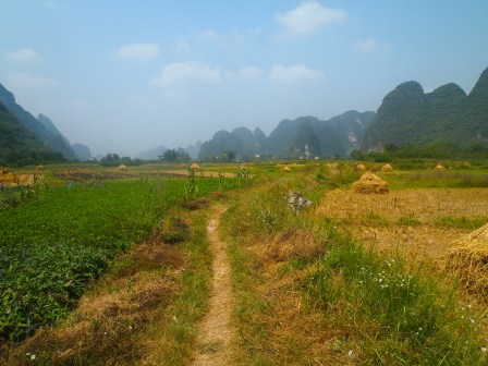 Bicycle path through Yangshuo countryside