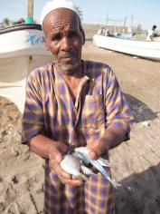 one boy's grandfather and his sardine catch of the day in Al Musanah, Oman