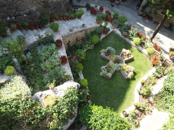 a green garden at one of the Meteora monasteries in Greece