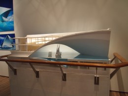a model of the Maritime Museum by Tadao Ando, to be built as part of the Saadiyat Island Cultural Project in Abu Dhabi