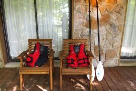 life vests and canoe paddles at our cabin at Deep Creek Lake, Maryland