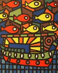 boat, fishes and sea